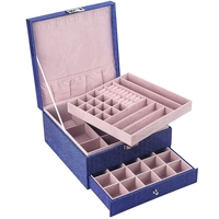 Large Capacity Leather Multi Layer Portable Jewelry Box Home Organization and Storage Makeup Organizer Blue