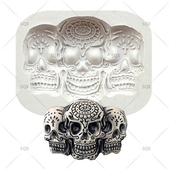 Cráneo silicona moldes resina arcilla jabón vela molde Halloween Fondant pastel decoración herramienta caramelo Chocolate Gumpaste Mould15287