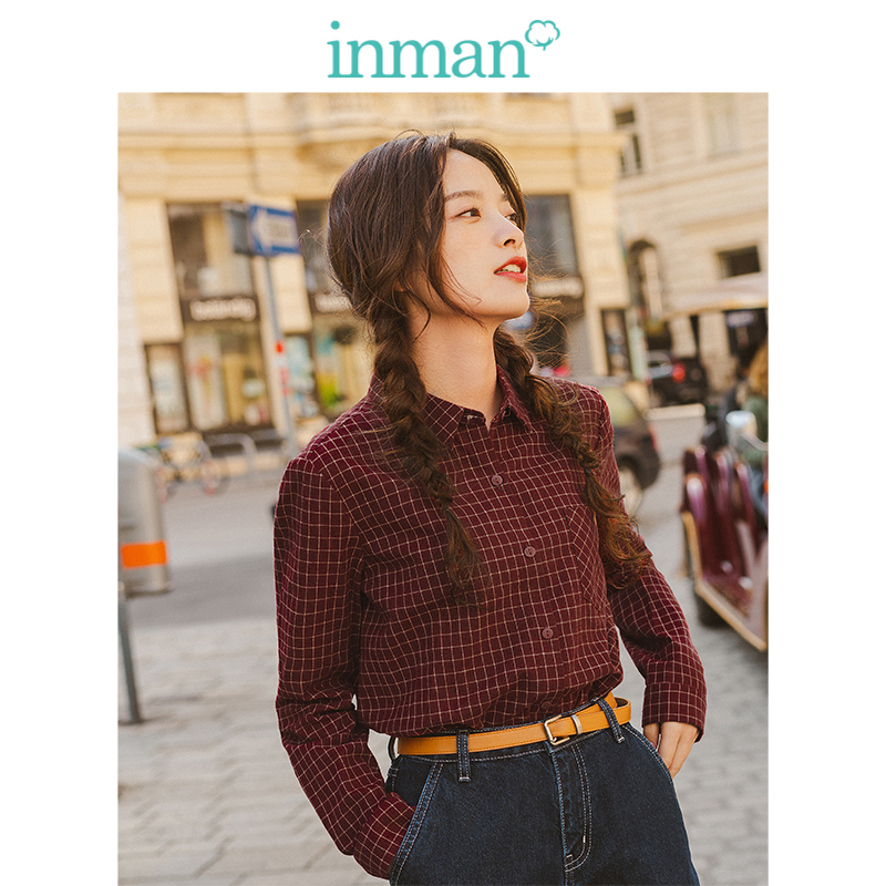 INMAN 2019 Autumn New Arrival 100%Cotton Turn Down Collar Long Sleeve Retro Literary Minimalism All Matched Plaid Women Blouse