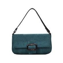 Fashion Corduroy Baguette Women Shoulder Bags Retro Solid Color Handbag Ladies Bag Casual Designer Small Tote Handbags