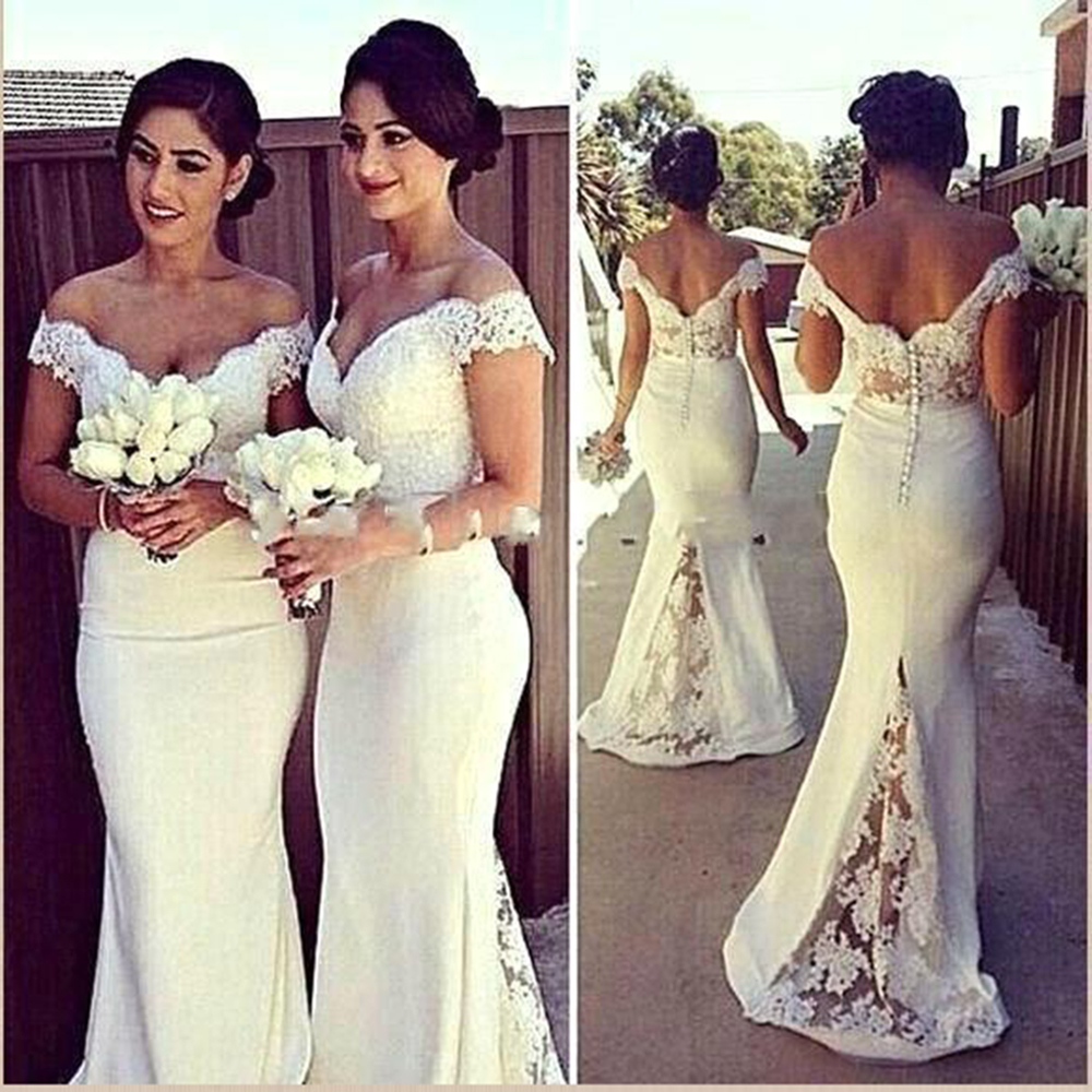 Mermaid Long Burgundy   Bridesmaid     Dresses   2019 Sexy Backless Beaded Lace Applique Off Shoulder Customized Gold Bridemaid   Dress