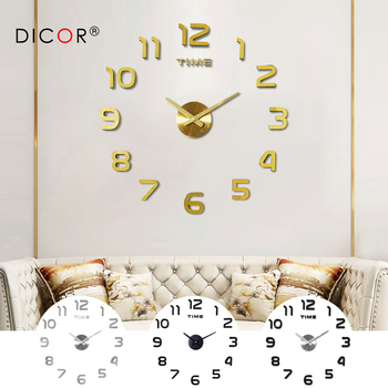 DIY 12v Digital Large Wall Clock Home Decoration Mirror Wall Clock Sticker Vinyl Modern Design Clock on The Wall for Living Room