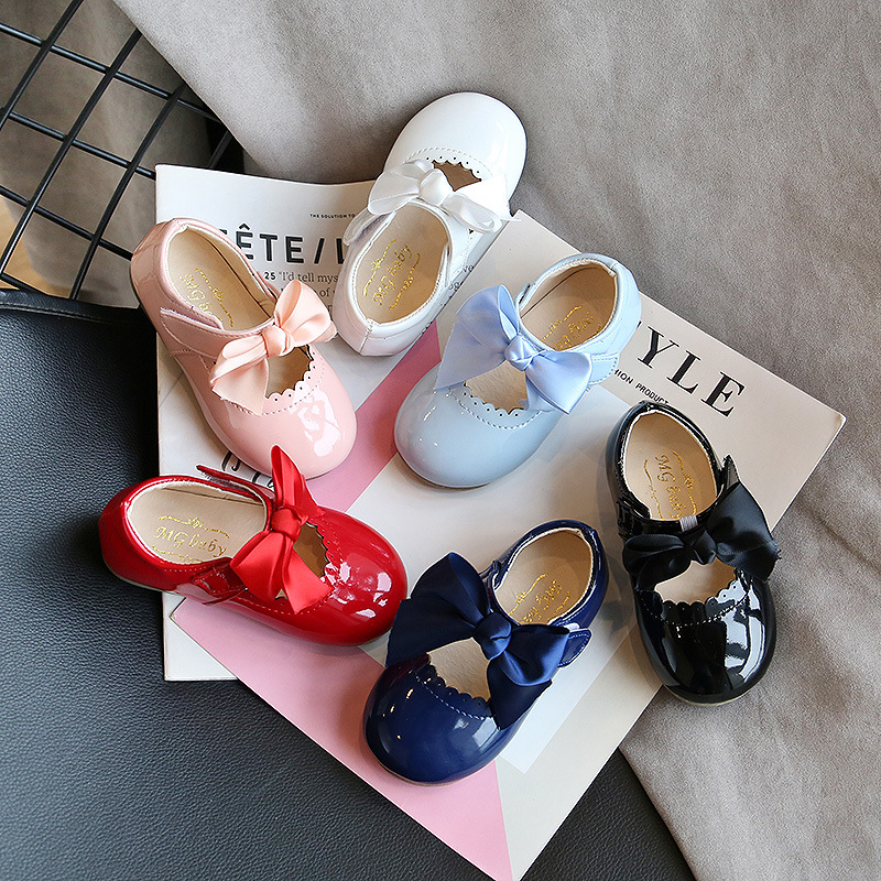 Children's Candy Color Baby Shoes Soft Bottom 2020 Spring Smooth Leather Children Girl Shoes Princess Party Shoes Bow-tie D04203