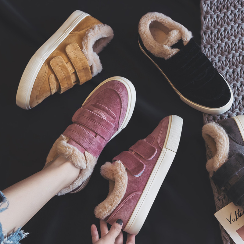 Women Winter Shoes Fur Lined Girls Pink Warm Sneakers Plush Inside Hook Loop Low Top Suede Leather Nice Quality All Match 35-40