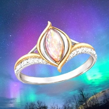 Exquisite Silver Gold-plated Mixed Color Diamond Opal Ring Women's Luxury Charm Jewelry Wedding Engagement Ring gold plated embellished ring set