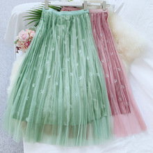 Wasteheart Autumn Winter Pink Green Women Skirt High Waist Mesh Long Ankle Plus Size Empire Casual A-Line Corduroy