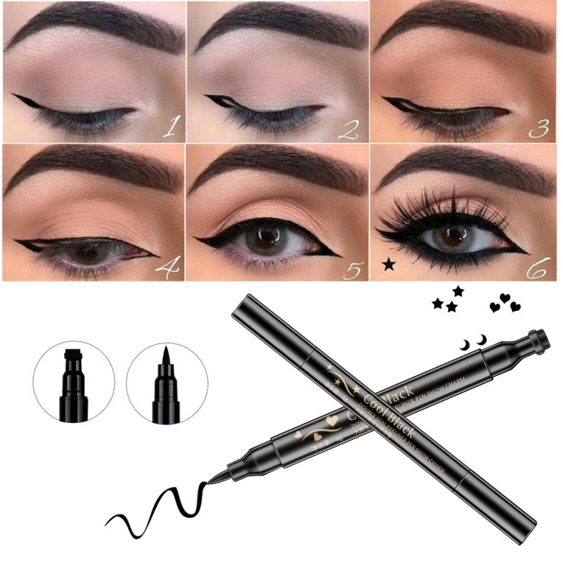 Double Head Waterproof Liquid Stamp Eyeliner Pen Eye Tattoo Stamping Eye Liner Pencil Women Makeup Tools Love/Star/Moon TSLM2