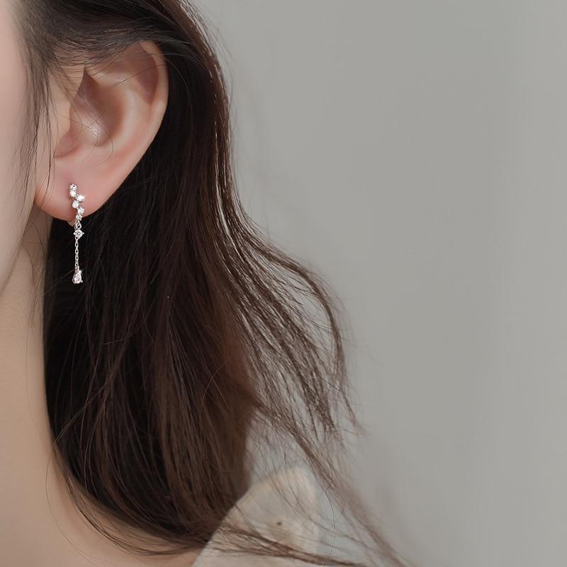 925 Sterling Silver Water Drop Shape Female Zircon Rhinestone Elegant Fashion Earrings For Women Серьги eh1460