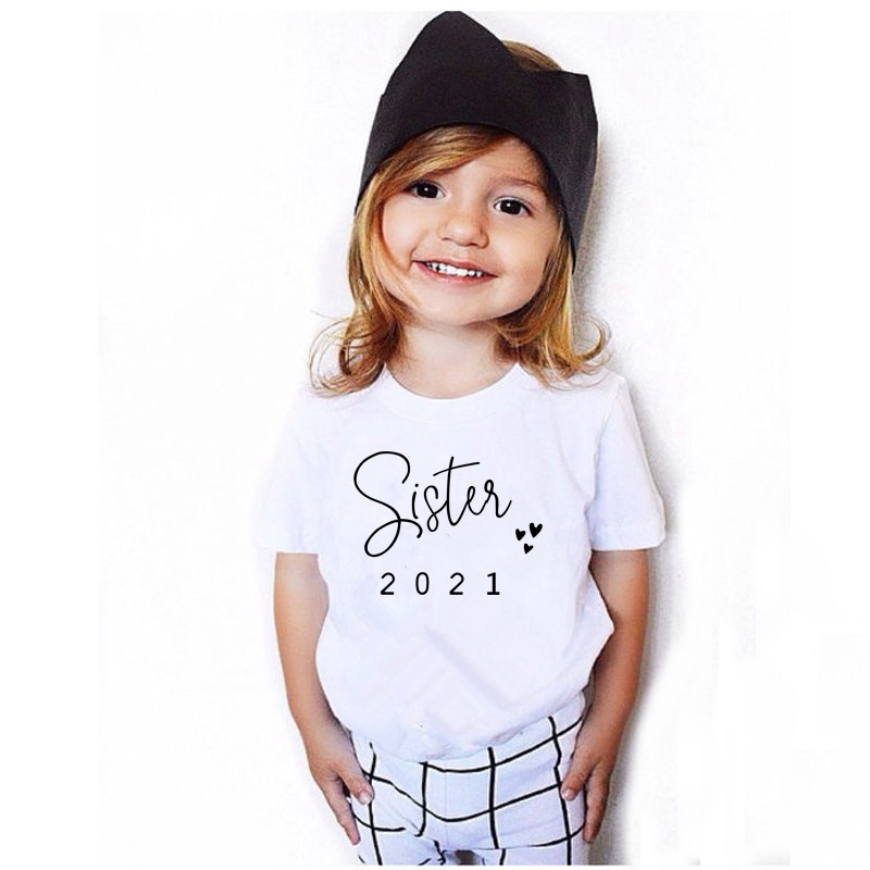 Promoted To Big Sister/Brother 2021Kids Tshirts Announcement Shirt Funny Girl Boy Short Sleeve Casual Tees Children Fashion Tops 2