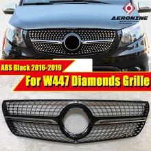 W447 vito Diamonds Style Front Grille Grill Fit for MercedesMB V Class ABS Black Sport without sign V260 V250 Look Grills 16-19