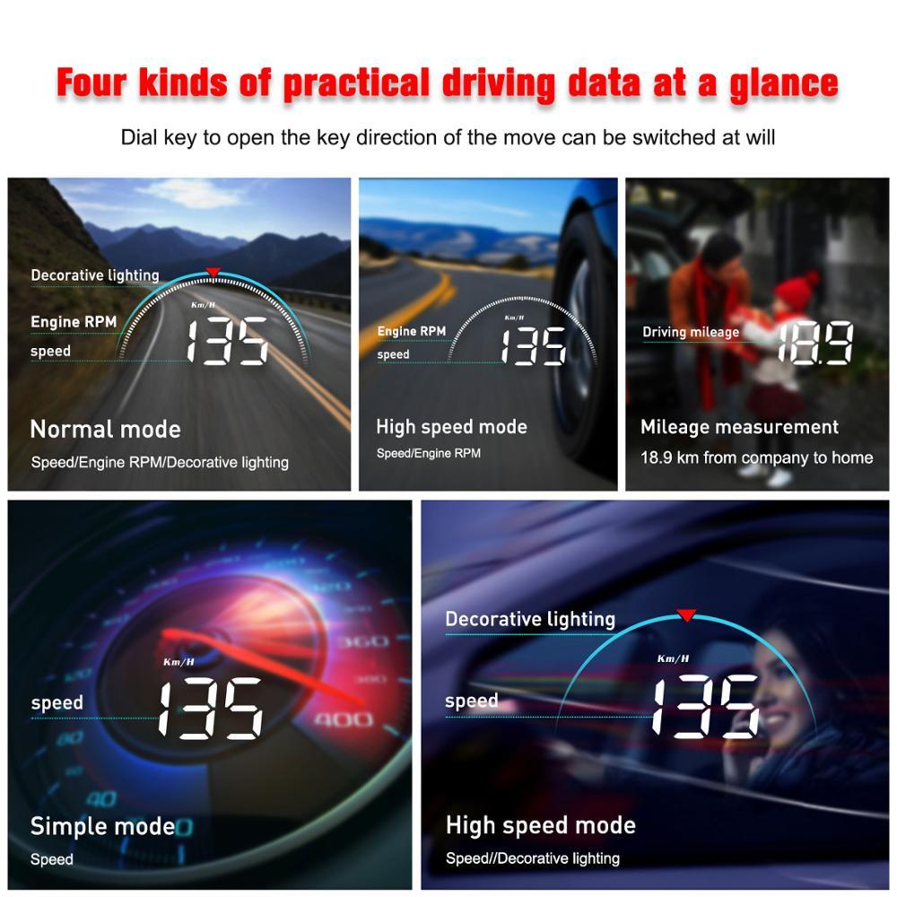 Image 4 - GEYIREN M8 Car HUD Head Up Display OBD2 II EUOBD Overspeed Warning System Projector Windshield Auto Electronic Voltage Alarmhud autodigital speedometer gpskm digital -