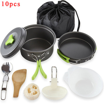 Portable Camping tableware cooking set Outdoor cookware pan pot bowl spoon fork Utensils for hiking picnic travel wild campismo naturehike outdoor ultralight tableware sets camping hiking cookware tableware picnic backpacking cooking bowl pot pan cooker