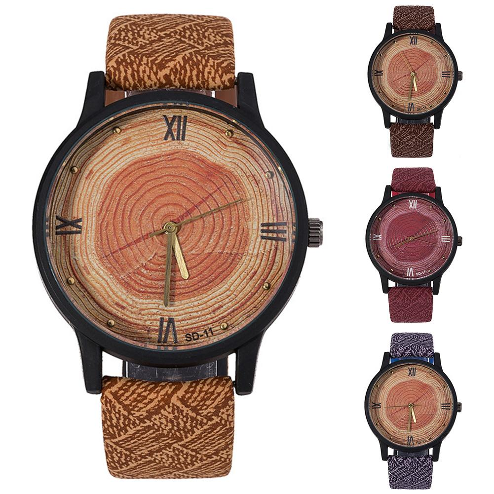 Couple Watch Durable Wood Grain Waterproof Wrist Watch Unisex Faux Leather Roman Numerals Analog Quartz Watch Деревянные часы
