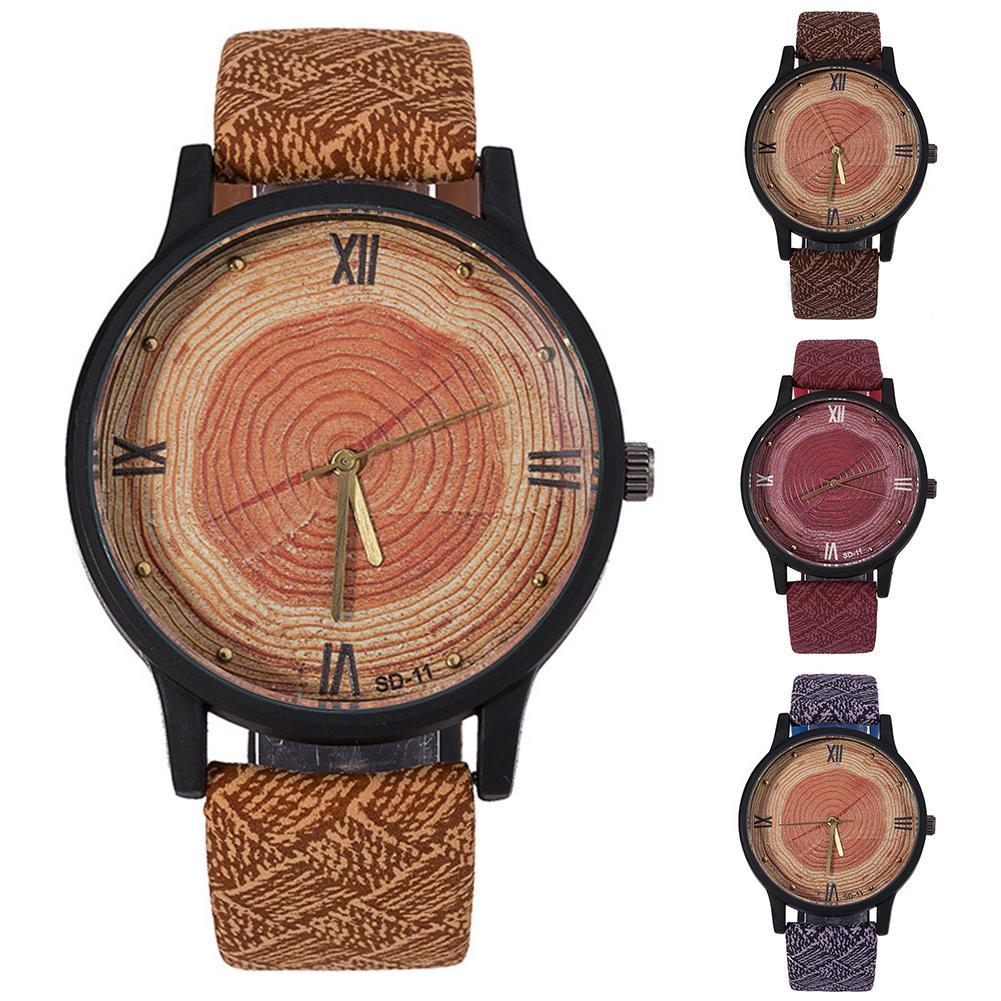 Couple Watch Durable Wood Grain Waterproof Wrist Watch Unisex Faux Leather Roman Numerals Analog Quartz Watch Деревянные часы
