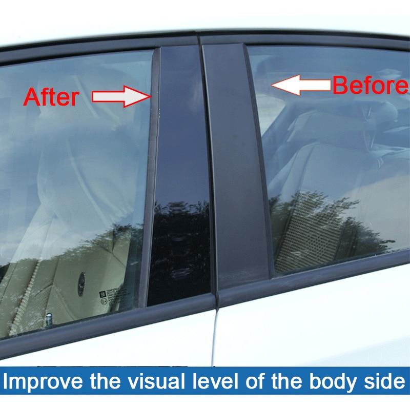 Car styling 6/8 sztuk/zestaw czarny lustrzany efekt okno samochodu filar posty pokrywa tapicerka dla Toyota 09-18 RAV4 07-18 Corolla 6/8 Camry
