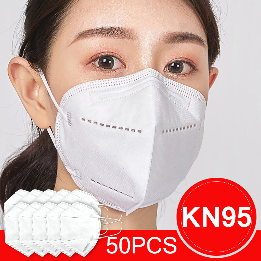 50pcs KN95 Disposable Face Mouth Mask Protect Mask 4 Layers Filter Dustproof Non Woven Protective Mouth Masks Fast Shipping