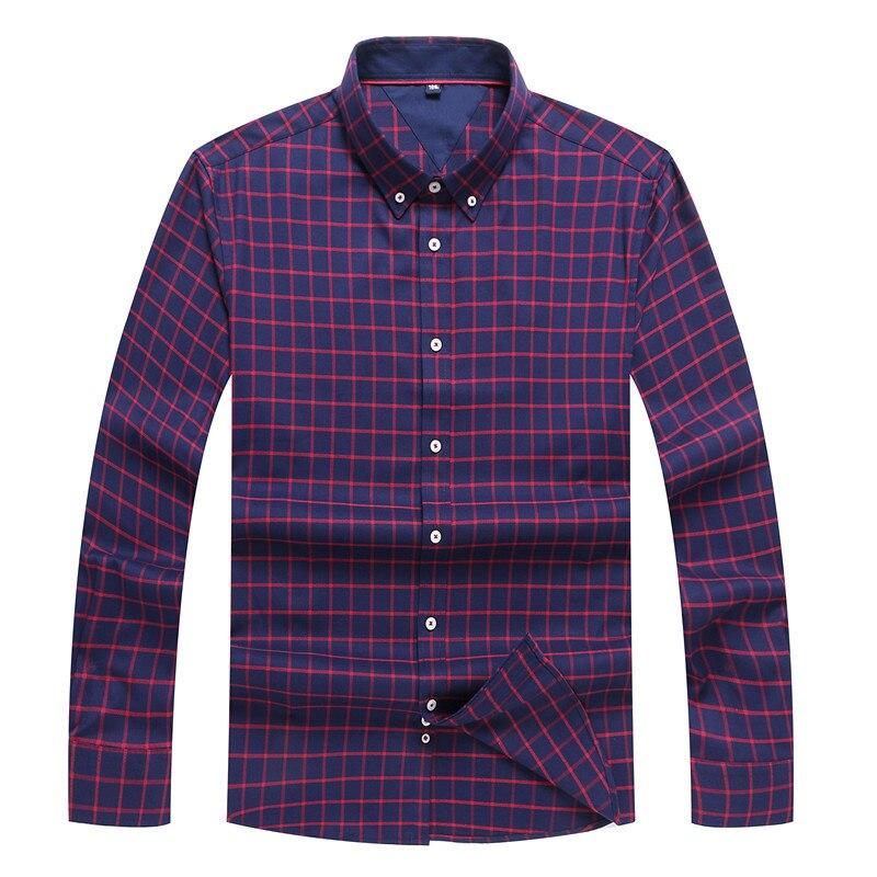 Big Size Spring Cotton Plaid Men Shirts Long Sleeve Mens Casual Shirt Slim Men Flower Dress Shirts Camisa Masculin