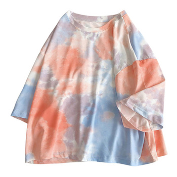2020 New Fashion Style Plus sized O-neck Short Sleeve Sports Shirt Women -pang Tie Dye Print Summer Loose Tee Shirt