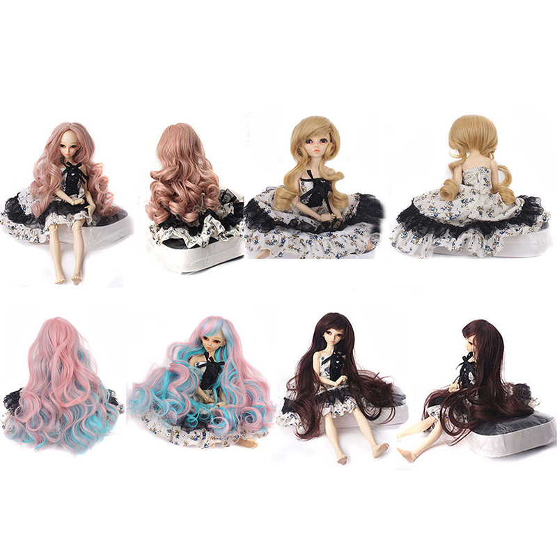 Fashion Style Fair size <font><b>1/3</b></font> 30-35cm DIY <font><b>BJD</b></font> SD MSD Curly doll <font><b>Wigs</b></font> Long <font><b>Brown</b></font> High Temperature Fiber hair for Dolls Accessories image