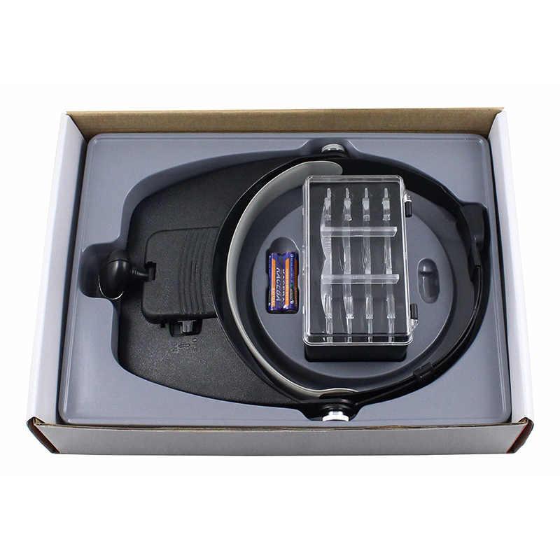 Diadema lupa lámpara con reparación Led lectura joya casco gafas de aumento 1.2x 1.8x 2.5x 3.5x