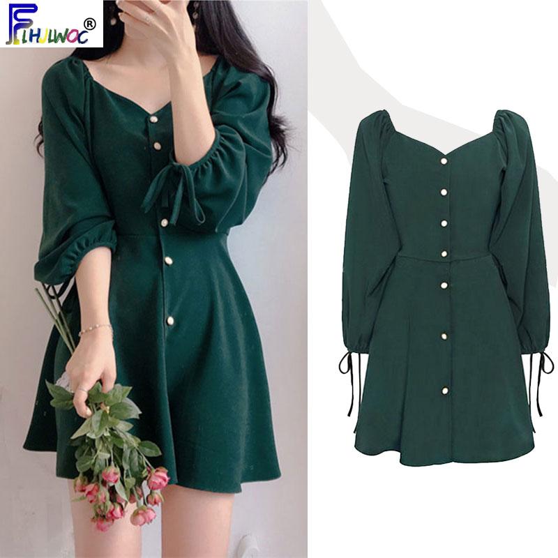 A Line Dresses Women Fashion Korea Japan Style Design Cute Sweet Little Back Dress Party Mini Button Vintage Dress Tunic 9310Dresses   -