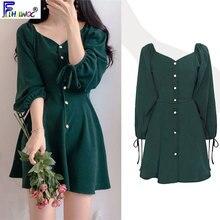 Linia elegancka sukienki kobiety moda Korea japonia Style Design słodkie słodkie, małe sukienka z plecami Party Mini przycisk sukienka Vintage 9310