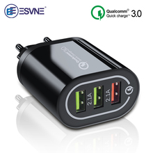 ESVNE Usb Charger Quick Charge 3.0 For iphone Samsung 3 Port Fast Xiaomi Huawei Wall Smartphone