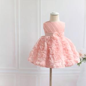 Розовое Кружевное праздничное платье для маленьких девочек платье для дня рождения с бантом и бусинами для маленьких девочек, платье на кре...