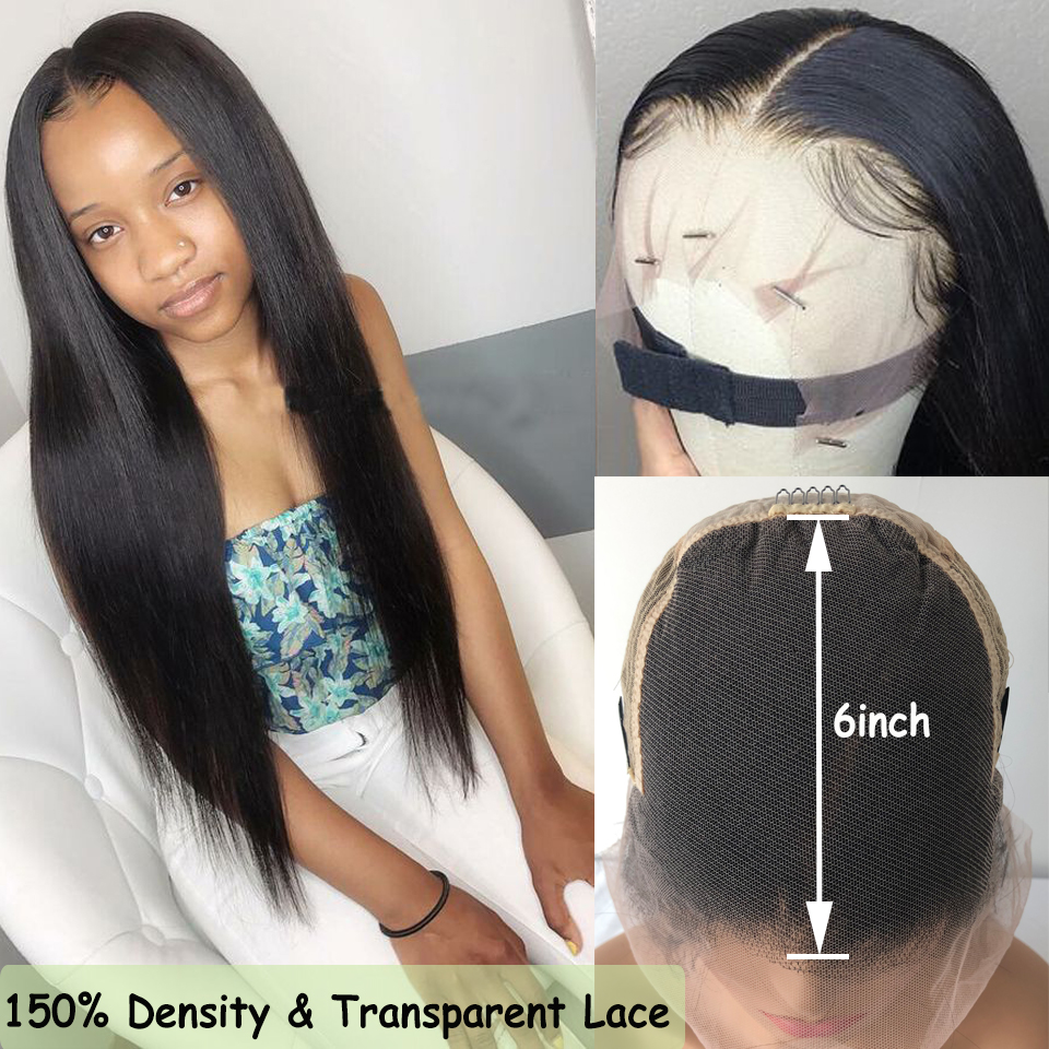13x6 Lace Front Wig With Invisible HD Transparent Lace 150% Density Pre Plucked Lace Front Human Hair Wigs Brazilian Remy Hair