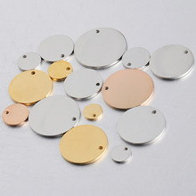 charms for jewelry making Size 8-30mm Mirror Polished Stainless Steel Round Pendants DIY Customized Graved 1.5mm 10piece/lot(China)