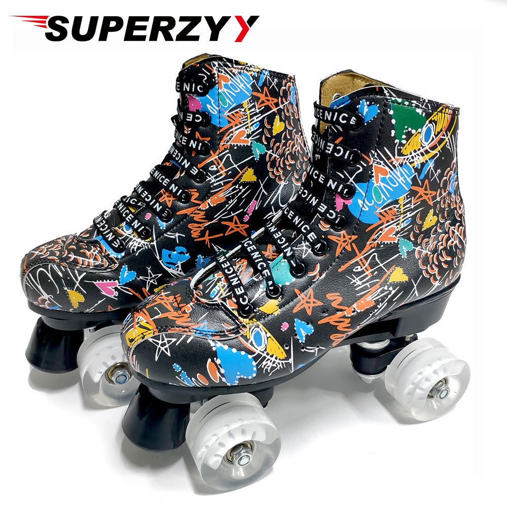 Graffiti Microfiber Roller Skates Double Line Skates Women Men Adult Two Line Skating Shoes With White PU 4 Wheels Training