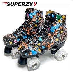 Graffiti Mikrofaser Rollschuhe Doppel Linie Skates Frauen Männer Erwachsene Zwei Linie Skating Schuhe mit Weiß PU 4 Räder Ausbildung