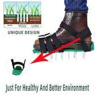 Lawn aerador sapatos alças ajustáveis cravado aeração do gramado sandálias jardim quintal grama cultivador gramado aerador unhas sapatos