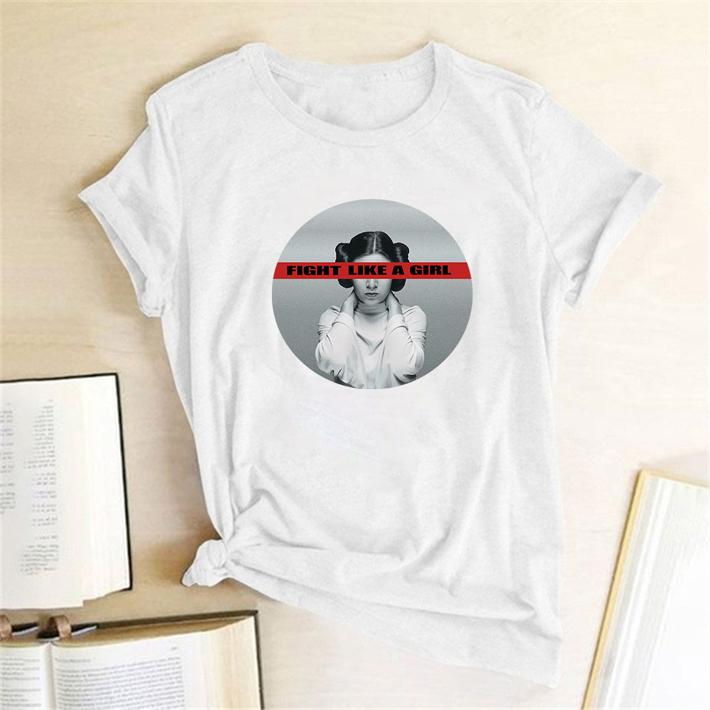 Leia T Shirt Fight Like A Girl Print Feminist T Shirt Women Short Sleeve Round Neck Harajuku Graphic Tees Women 2020 Clothes Top