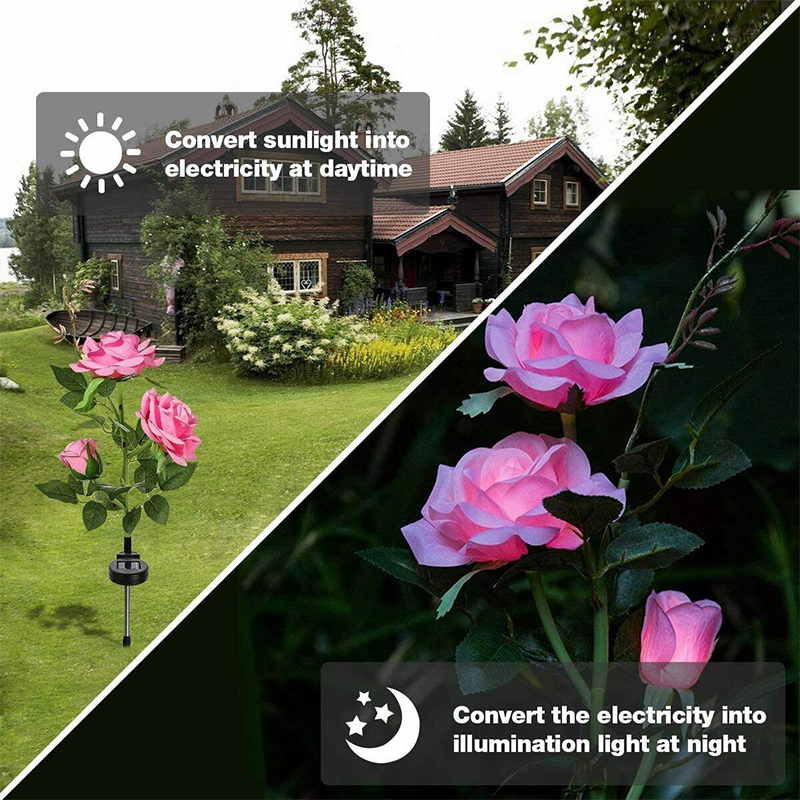 Solar Flower Light Rose Flower Lamp Led Solar Light For Garden Decoration Waterproof Outdoor Landscape Lawn Lamp For Patio Yard