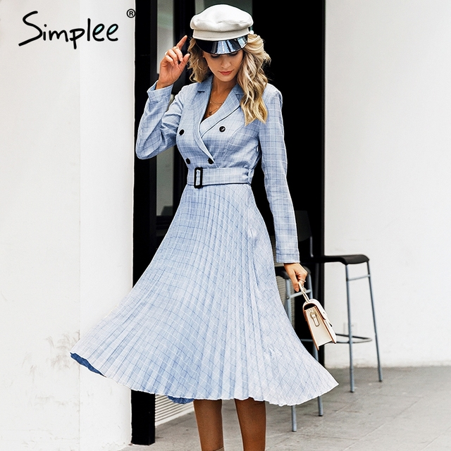 Simplee Vintage pleated belt plaid dress women Elegant office ladies blazer dresses Long sleeve female autumn midi party dress 3
