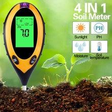 Testador de ph do solo 4 em 1 lcd digital analisador de umidade do solo monitor análise acidez alcaloide temperatura intensidade da luz solar tester