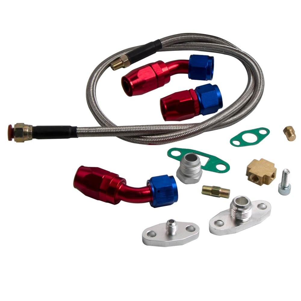 Универсальный турбинный комплект T70 A/R. 70 для всех 1.8L 3.0L двигателя + возврат слива масла + линия подачи масла комплект турбокомпрессора - 2