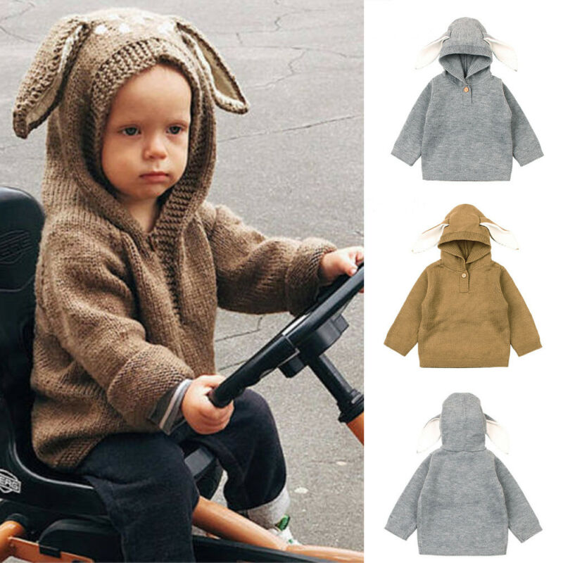 Cute Winter Toddler Baby Sweaters Kids Boys Girls Rabbit Ear Sweatshirt Hoodie Sweater Warm Knit Tops Lovely Baby Clothes