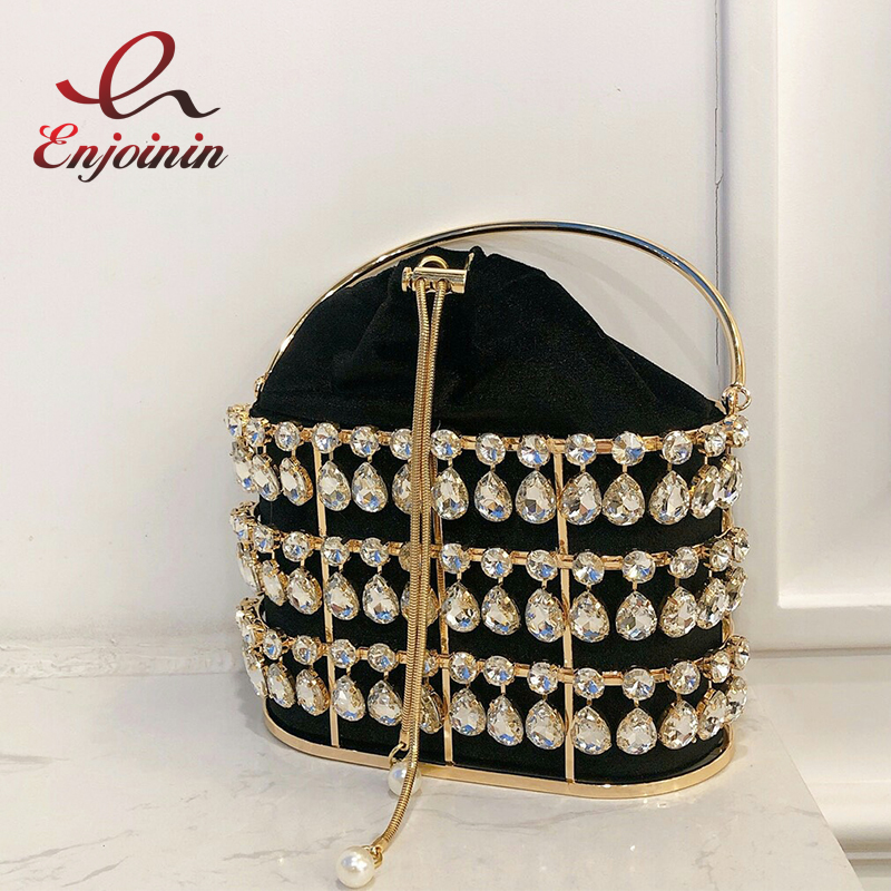 Black & Apricot Silver Diamond Metal Basket Ladies Party Dinner Bag Handbag Crossbody Bag Women Shoulder Chain Purse Tote Bag