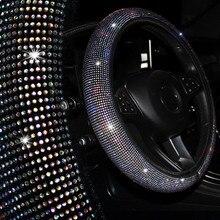 Coprivolanti per auto in cristallo di diamante elastico in pelle coprivolante universale con strass gemma accessori per auto per ragazze
