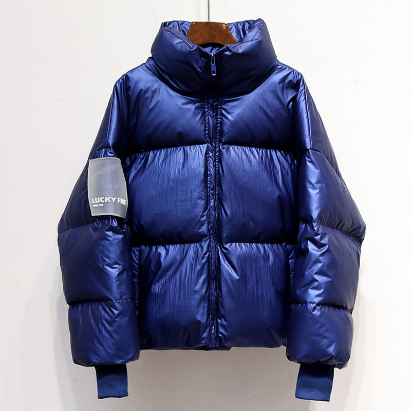 Kpop Bright Color Women's Puffer   Parka   Coats Winter Drop Shoulder Warm Padded Coat Female Fashion Streetwear Down   Parkas   Women