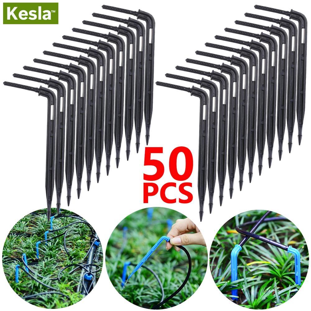 KESLA 50PCS Bend Arrow Dripper Micro Drip Irrigation Kit Emitters For 3/5mm Hose Garden Watering Saving Micro Dripper Greenhouse