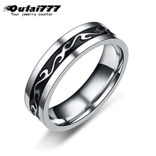 oulai777 Stainless Steel Ring for Men And Women Never Fade Power Lucky pattern Dragon 2019 Black silver punk Vintage ring