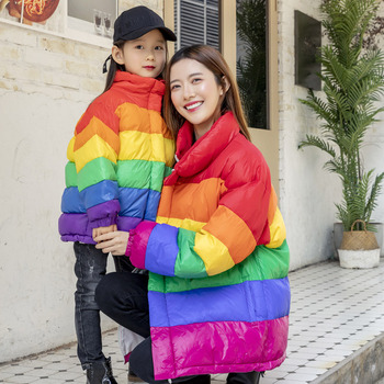 Winter Family Matching Outfits Rainbow Suit Cotton Coat Plus Size Mother&Daughter Striped Kids Winter Clothes Christmas Clothes