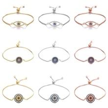 Juya Olho Grego Evil Eye Bracelet Supplies Hand made Gold/Rose Gold Adjustable Bracelets Greek Eye Charm Bracelets For Women Men