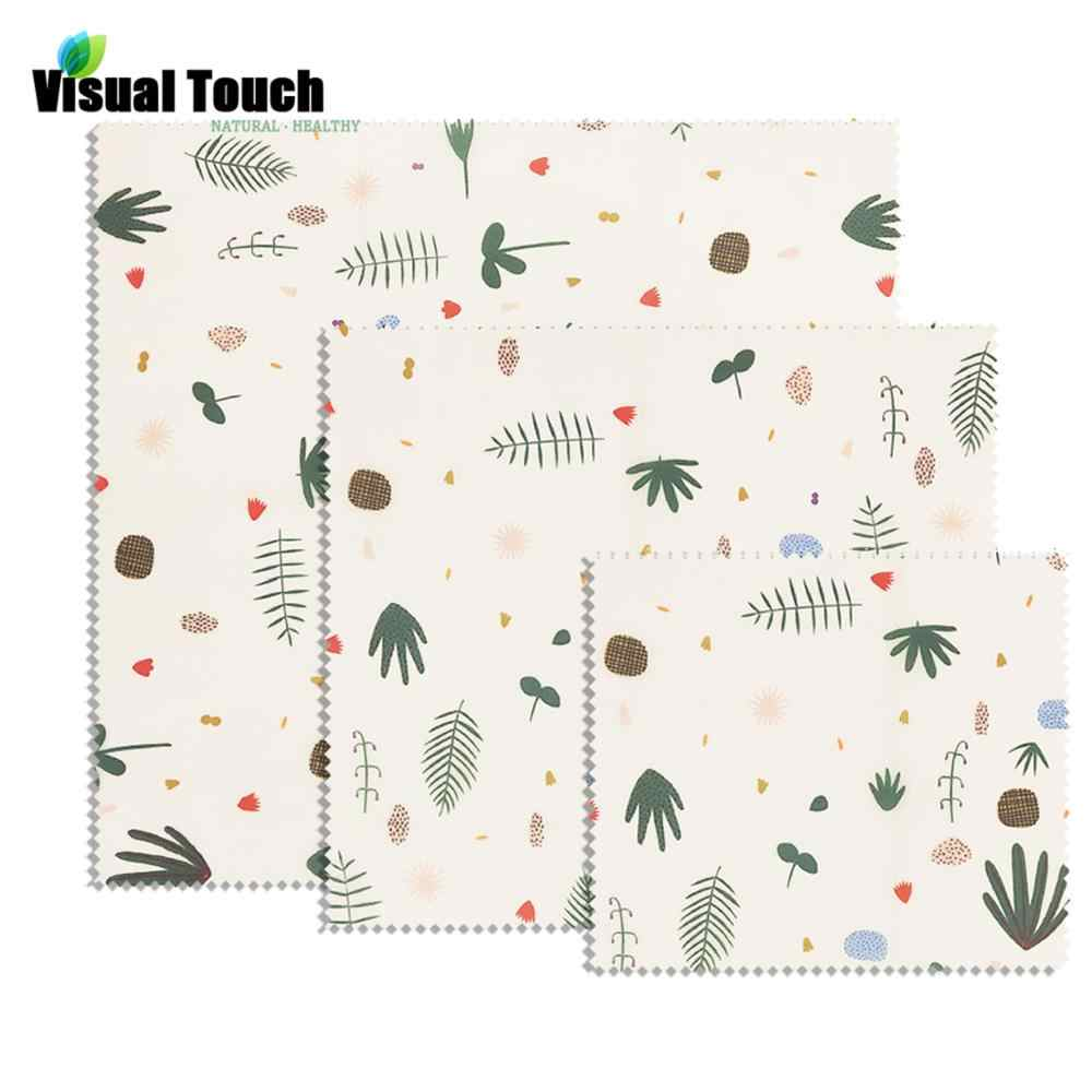 Visual Touch Leaves Print Cloth Natural Beeswax Wrap Organic Reusable Food Wraps Sandwich Storage Zero Waste Party Wrap