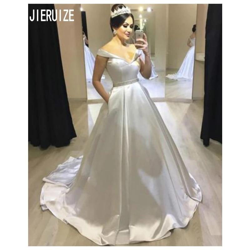 Jieruize Princess Puffy Wedding Dresses Simple Ball Gown Bridal Dress Off Shoulder Zipper Back Vestido De Noiva Wedding Gowns Wedding Dresses Aliexpress