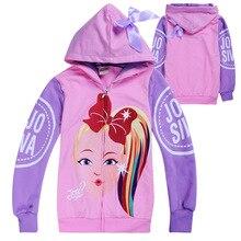 3 12y chaquetas de Otoño de dibujos animados JOJO Siwa para niñas, abrigos con capucha y lazo, ropa de abrigo con cremallera para niños, abrigo Casual, ropa