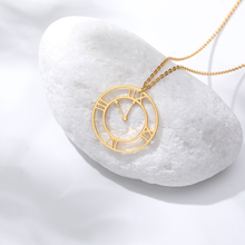 Hollow Classical clock Necklace For Women Hour hand shaped retro Gold stainless steel chain necklace Gifts Friends